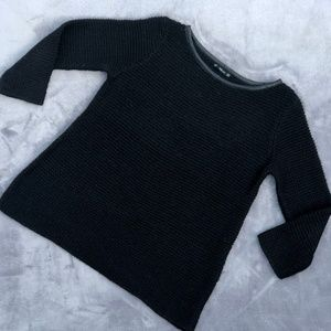 3/4 Sleeve Black Chunky Knit